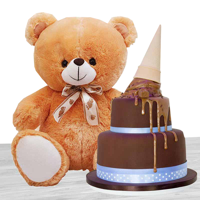 Buy 2 Tier Chocolate Cake Teddy Bear 12 Inches Online At Best Price