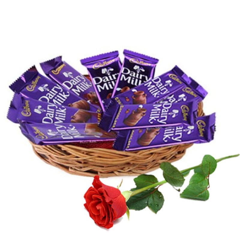 Buy Basket Of Dairy Milk Chocolate With Red Rose Online At Best Price Od