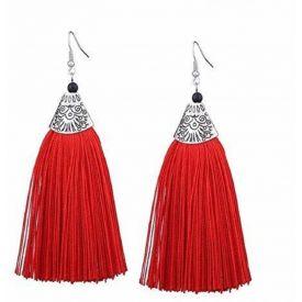 Red Long Silk Dori Tassel Earring