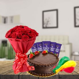Red Roses with Chocolate truffle Cake