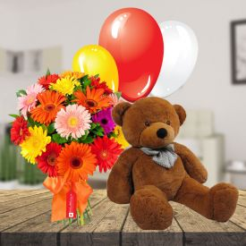 Mixed Flowers, 6 inch Teddy bear and 10 Pcs ballons