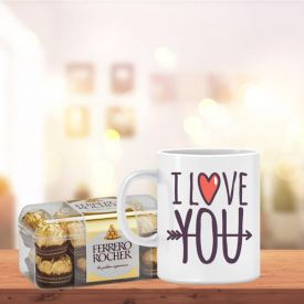 Love You Mug with 16 Pcs Ferrero Rocher