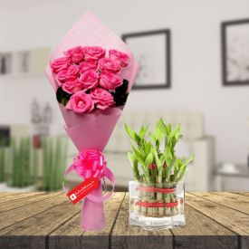 Pink rose & 2 layer bamboo with vase