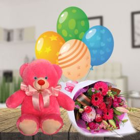 Large Teddy with mix flowers and Balloons