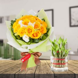 Yellow roses & 2 layer bamboo with Vase