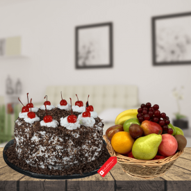 Black forest with 3KG fruits basket