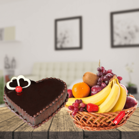 heart shape cake with fruits basket