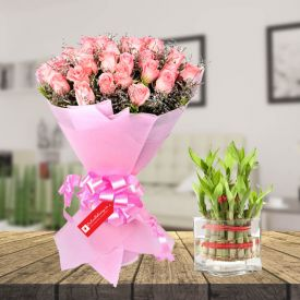 Pink Rose with bamboo & vase