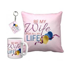 Karwa chauth gift for a beautiful Wife From Hubby Best Wife combo (Cushion,Coffee Mug, Keychain)