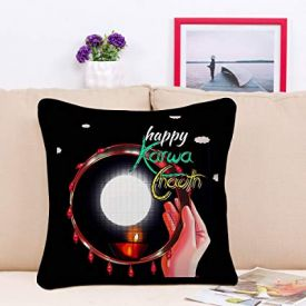 Sky Trends Happy Karwa Chauth Moon Design Special Gifts For Wife And Husband Cushion Cover