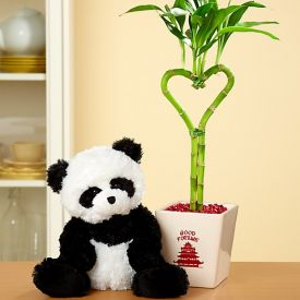 Heart Shape Bamboo With Panda