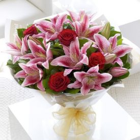 Bunch of lilies and Red Rose