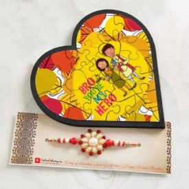 Heart shape wooden framed puzzle with one rakhi