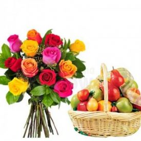 10 Red Roses and 2 Kg Mixed Fruits with Basket