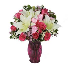 Roses and lilies with vase