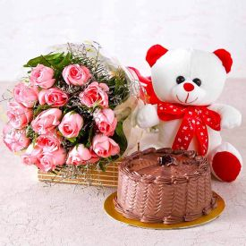 Basket of Roses, Cake With Soft Toy
