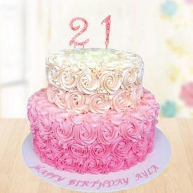 Cake in 2 tier (flower design)