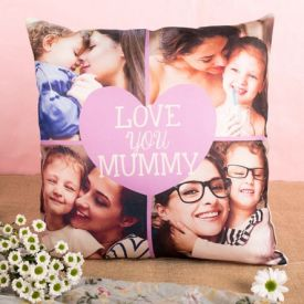 Personalised Cushion - Photo Upload Pink Heart Multi Collage