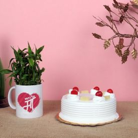 Cake and Lucky Bamboo in a Mug