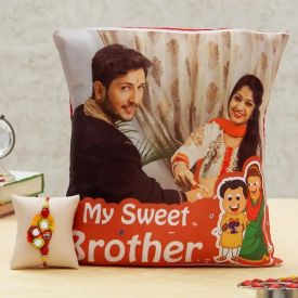 Personalized Cushion with Rakhi