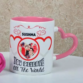Personalized Heart Handle Pink Mug