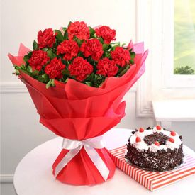 Red Carnations with Black Forest Cake