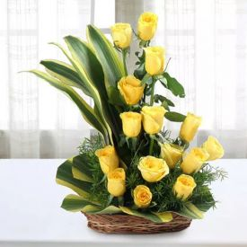 Fresh Yellow Roses In Basket