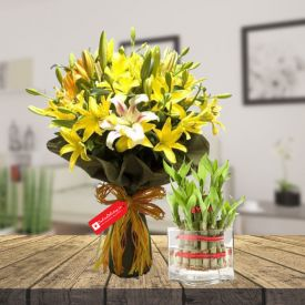 Yellow lily with 2 layer bamboo with vase