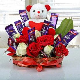 Chocolates with teddy arrangement