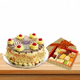 Butterscotch Cake With Mixed Sweets