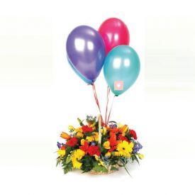 Basket of 20 mixed flower with 10 Balloons