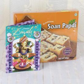Soan Papdi with Diwali Greeting card
