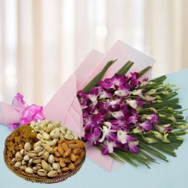 Purple Orchids With Dry Fruits
