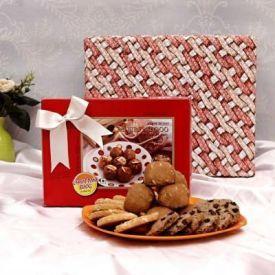 Cashew Cookies with Choco Chip Cookies and Panjiri Laddoos