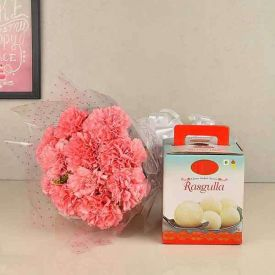 Pink Carnations with Rasgulla