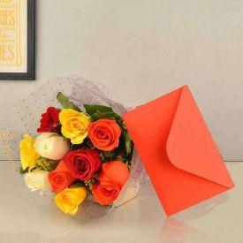 Roses hamper and greeting card