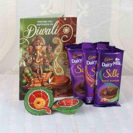 Cadbury Silk hocolate with Diwali Card and Designer Diya