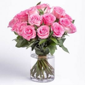 Pink Roses With Vase