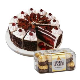 1kg black forest cake with16 pieces of ferrero rocher