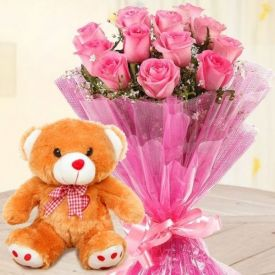 A bunch of 15 pink Flower, and (6 inches)Teddy Bear
