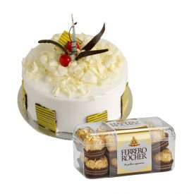 2kg pineapple cake with 16 pieces of ferrero rocher