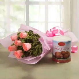Pink Roses With Gulab Jamun