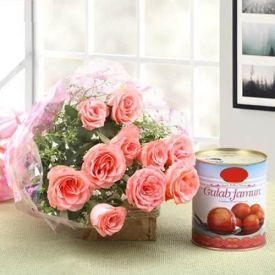 Sweetly Fresh Pink Roses & Gulab Jamun