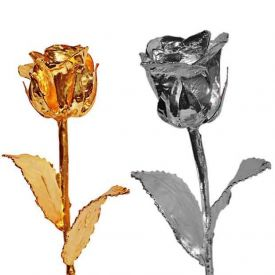 6 Inch Golden Rose and 6 Inch Silver Rose
