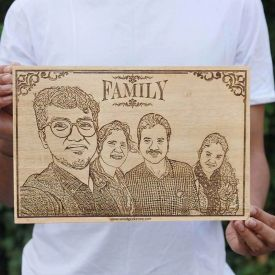 Family Wooden Engraving -Square