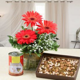 Flowers, Sweets With Dry fruits