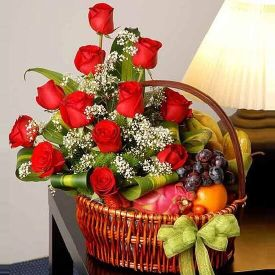 Red Roses With Mixed Fruits