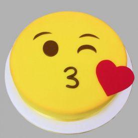 Face Blowing A kiss Emoji Cake