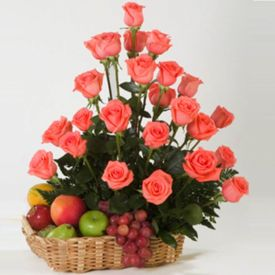 Pink Roses With Mixed Fruits
