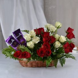 Basket of Red and White Roses with Silk
